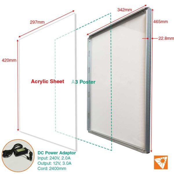 A3 Silver Clip/snap frame LED display/sign Light Box menu board ...