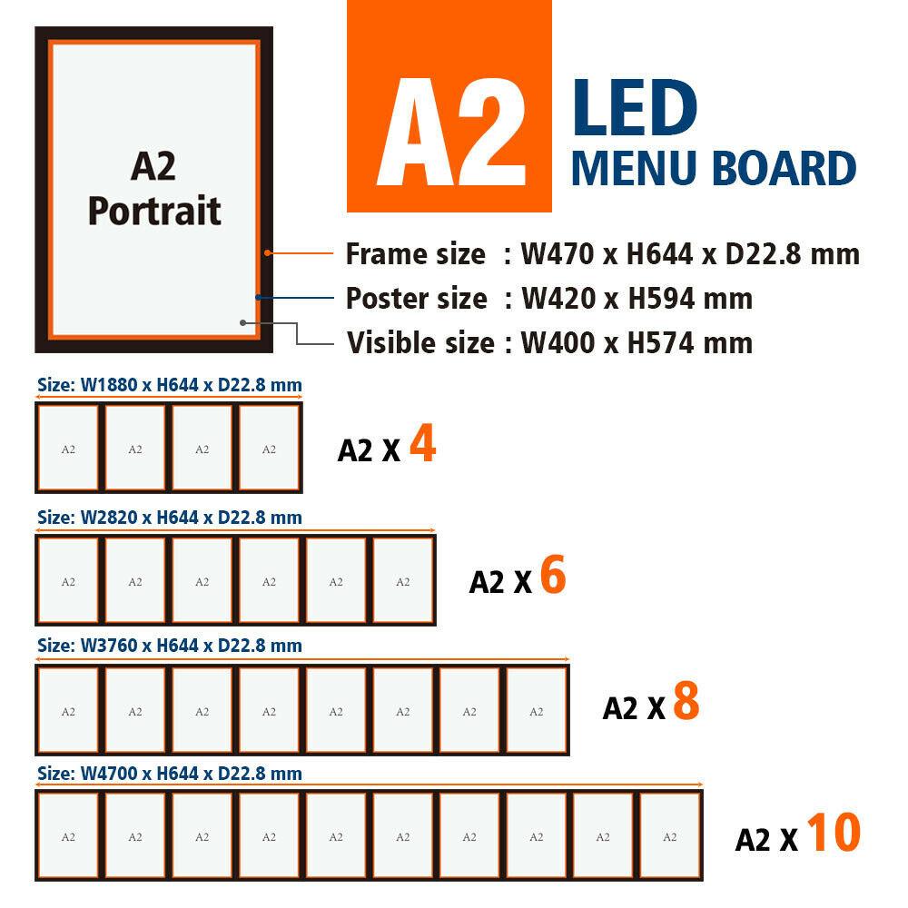 A2 Black Slimline Aluminium Magentic LED Light Box/LED Display with printing