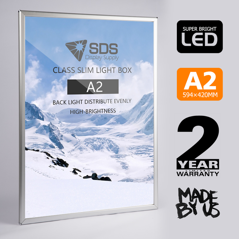 Details about A2 Silver Clip/snap frame LED display/sign Light Box menu  board, backlit poster